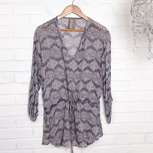 Anthro Dolan Quintana Gray/Blue Knit Print Top